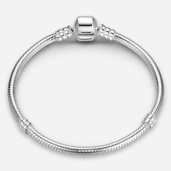 Ezüst kígyólánc karkötő gömb záróelemmel