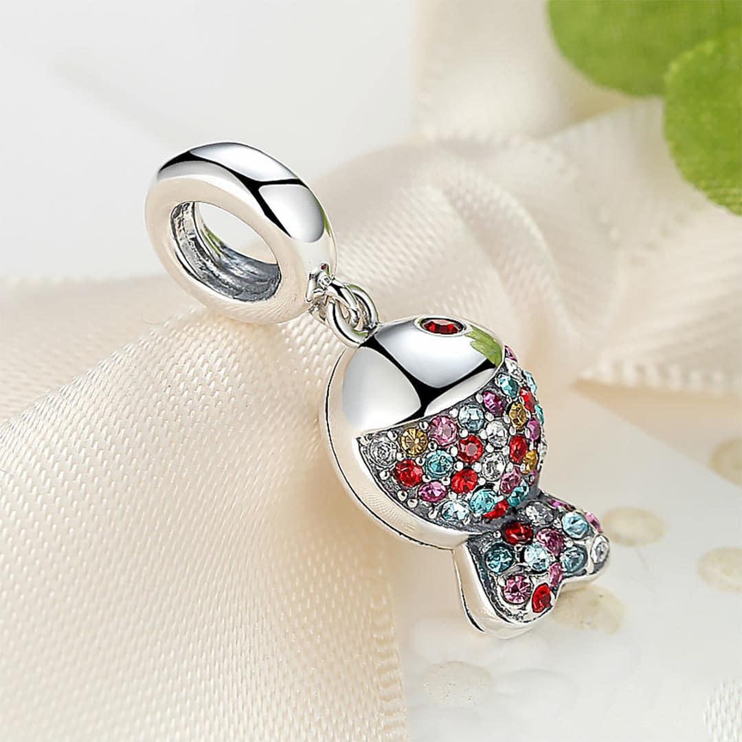 Ezüst szikrázóan csillogó halacska charm