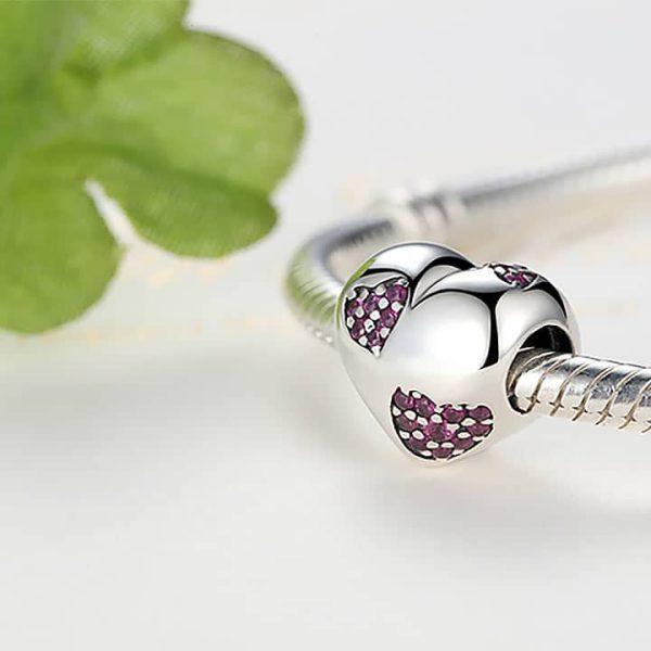 Ezüst szív charm pink kővel