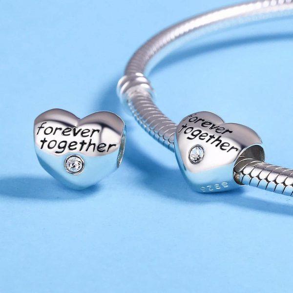 Ezüst szív together forever charm