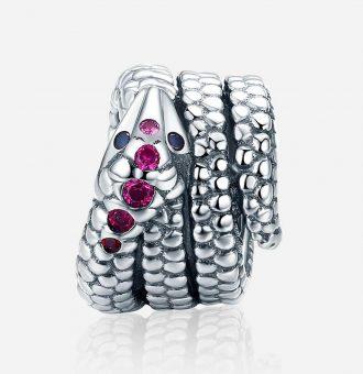 Ezüst lila köves kígyó charm