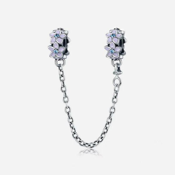 Ezüst tavaszi virágos biztonsági lánc charm