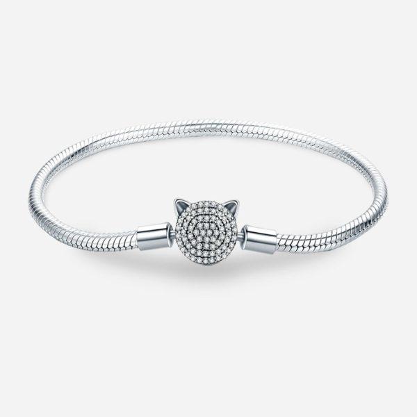 Ezüst kígyólánc karkötő csillogó kristályköves cicás záróelemmel
