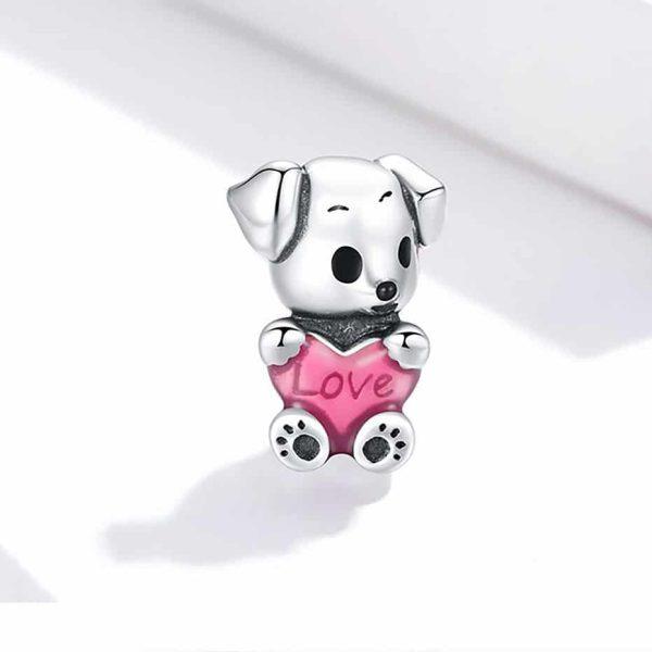 Ezüst babakutya pink szívvel charm