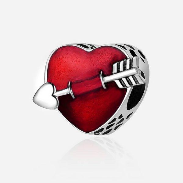 Ezüst szív Ámor nyilával charm