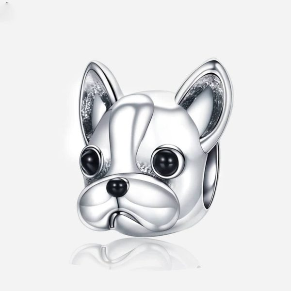 Ezüst francia bulldog baba charm