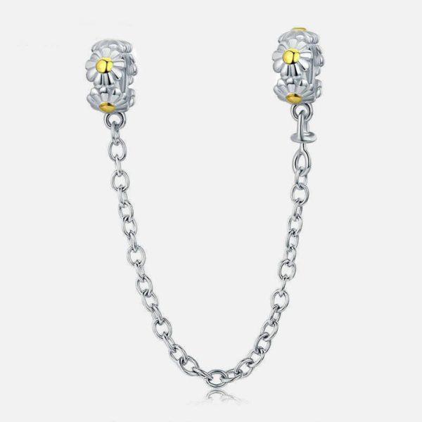 925 Ezüst kisvirágos biztonsági lánc charm