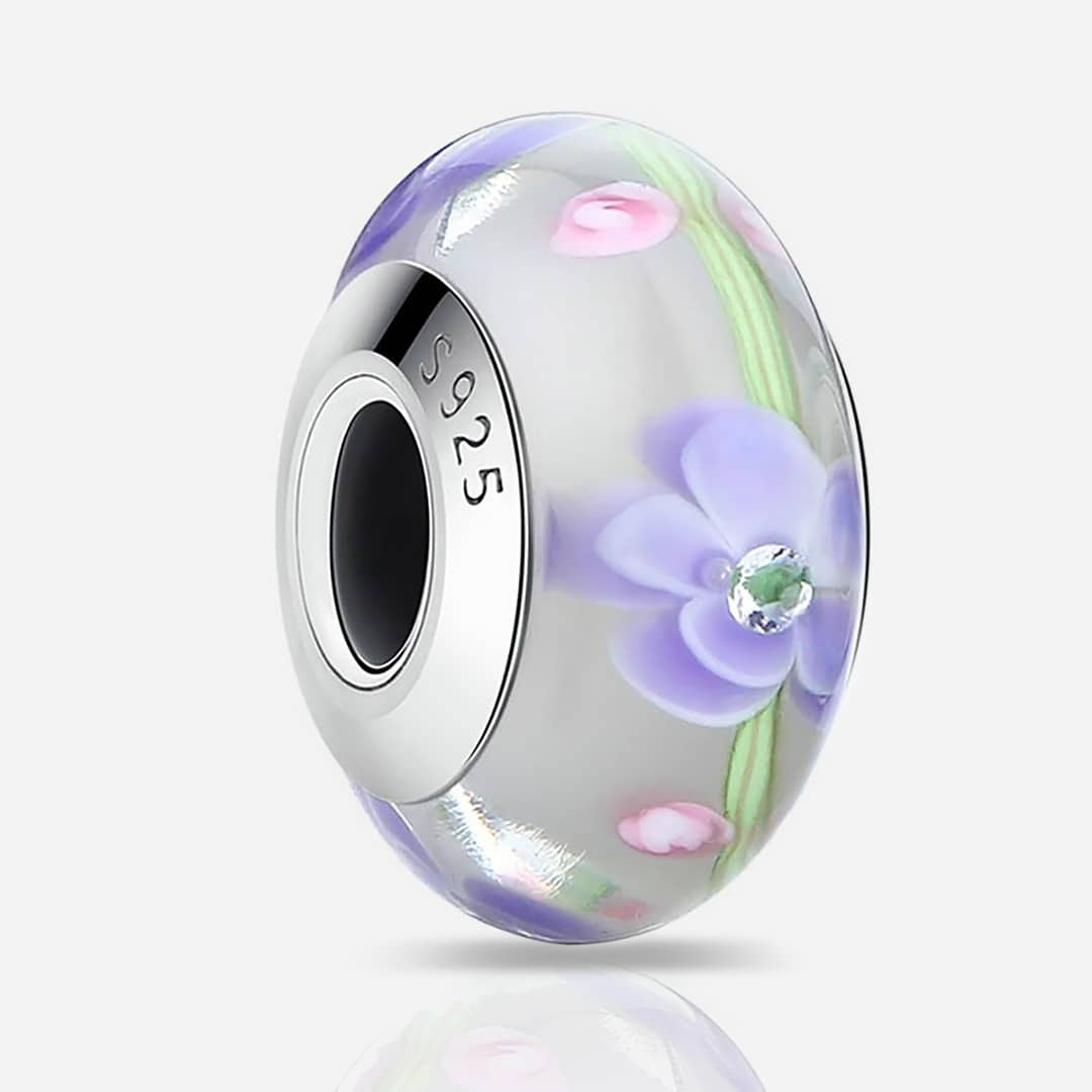Muranoi ezüst charm - lila pink