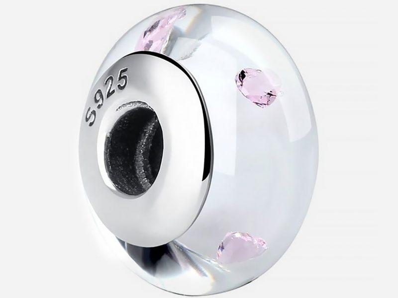 Muranoi ezüst charm - Ezüst rózsaszín