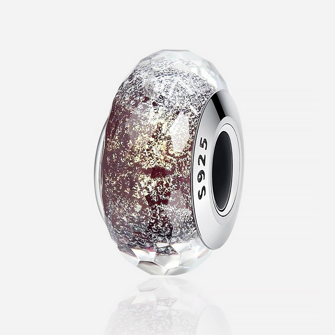 Muranoi ezüst charm -rosegold kristalyos